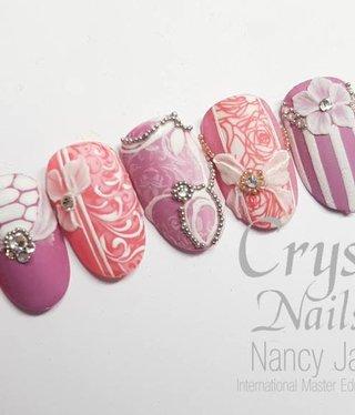 Crystal Nails Bridal Pink Mix Nailart workshop