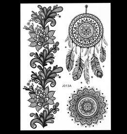 Spitze Tattoo Schwarz zum Kleben 013A