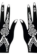 Henna Tattoo Schablone für Hand Bemalung S102 - 2 Stück eine pro Hand