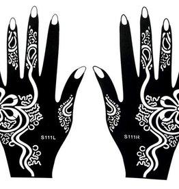 Henna Tattoo Schablone für Hand Bemalung S111 - 2 Stück eine pro Hand