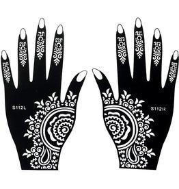Henna Tattoo Schablone für Hand Bemalung S112 - 2 Stück eine pro Hand