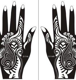 Henna Tattoo Schablone für Hand Bemalung S114 - 2 Stück eine pro Hand