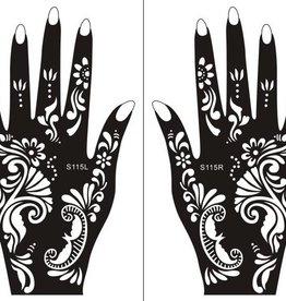 Henna Tattoo Schablone für Hand Bemalung S115 - 2 Stück eine pro Hand