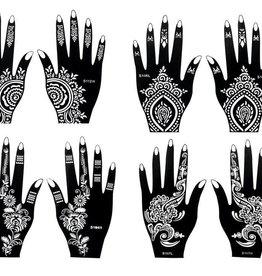 Henna Tattoo Schablonen 8 Stück  Set Henna 2 zur einmaligen Verwendung für Hände auch für Glitter Tattoo und Air Brush Tattoo geeignet