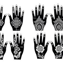 Henna Tattoo Schablonen 8 Stück  Set Henna 1 zur einmaligen Verwendung für Hände auch für Glitter Tattoo und Air Brush Tattoo geeignet