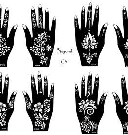 Henna Tattoo Schablonen 8 Stück  Set Henna 3 zur einmaligen Verwendung für Hände auch für Glitter Tattoo und Air Brush Tattoo geeignet