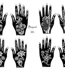 Henna Tattoo Schablonen 8 Stück  Set Henna 4  zur einmaligen Verwendung für Hände auch für Glitter Tattoo und Air Brush Tattoo geeignet