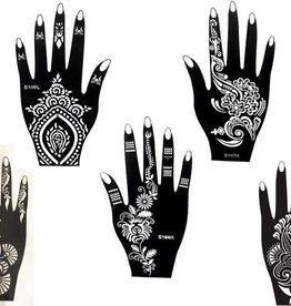 Henna Tattoo Schablonen 5 Stück  Set Henna 5  zur einmaligen Verwendung für Hände auch für Glitter Tattoo und Air Brush Tattoo geeignet