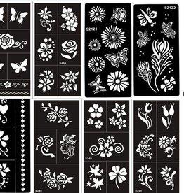 Mehandi Schablonen Vorlage Set Florence 8 Sheets Blumen und Schmetterling Designs für Henna, Glitter und Air Brush Tattoo geeignet