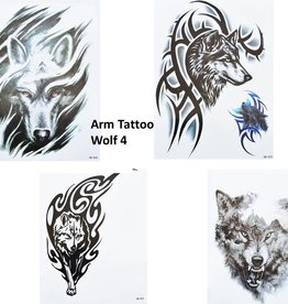 4 SHEETS WOLF TATTOO SCHWARZ Arm Oberarm Tattoo Fake Tattoo Wolf 4