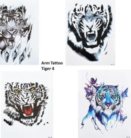 4 SHEETS TIGER TATTOO SCHWARZ UND BUNT Arm Oberarm Tattoo Fake Tattoo Tiger 4