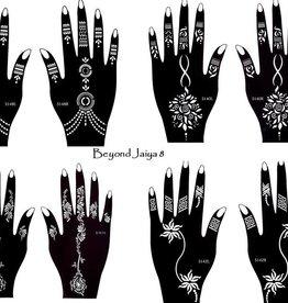Mehandi Schablonen 8 Stück Set JAIYA Henna Designs zur einmaligen Verwendung für Hände auch für Glitter Tattoo und Air Brush Tattoo geeignet