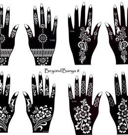 Mehandi Schablonen 8 Stück Set BANYA Henna Designs zur einmaligen Verwendung für Hände auch für Glitter Tattoo und Air Brush Tattoo geeignet