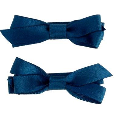 Your Little Miss Donkerblauwe haarspeldjes met satijnen strik