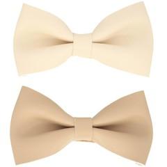 Haarspeldjes.com Set van twee haarspeldjes met leren strik creme en beige