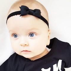 Your Little Miss Zwart newborn baby haarbandje kant met strik