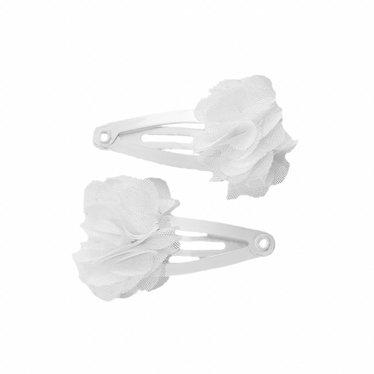 Your Little Miss Witte baby haarspeldjes met chiffon bloem