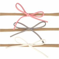 Your Little Miss Setje nylon haarbandjes met suede strik