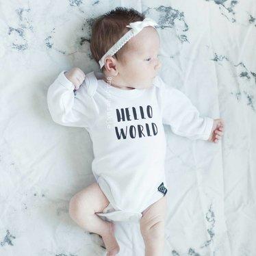 Your Little Miss Wit newborn baby haarbandje kant met strik satijn