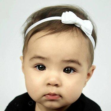 Your Little Miss Wit baby haarbandje met dubbele strik en dun bandje