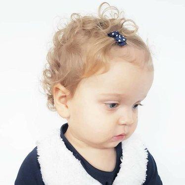 Your Little Miss Donkerblauwe baby haarspeldjes met strik en stipjes