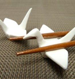 Kraanvogel wit chopsticks onderzetter