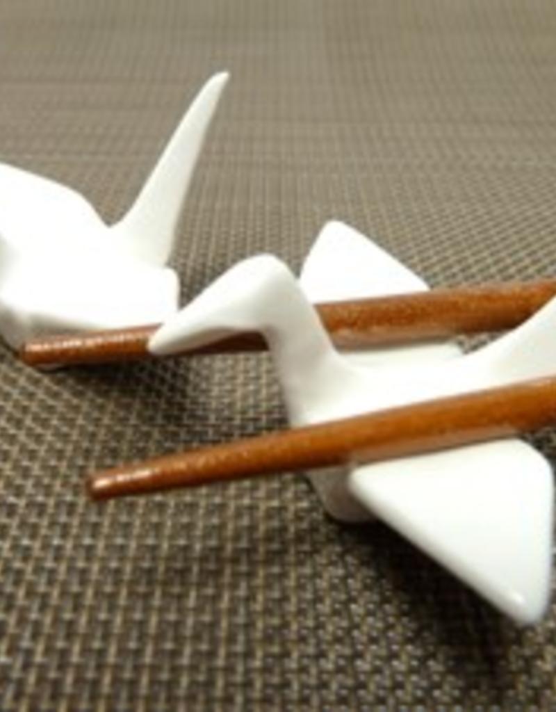 Crane bird white chopsticks rest (pair)