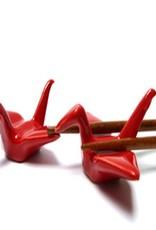 Kraanvogel (rood) chopsticks onderzetter (2 stuks)