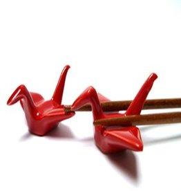 Kraanvogel (rood) chopsticks onderzetter(2 stuks)