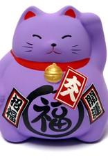 Maneki Neko purple piggy bank