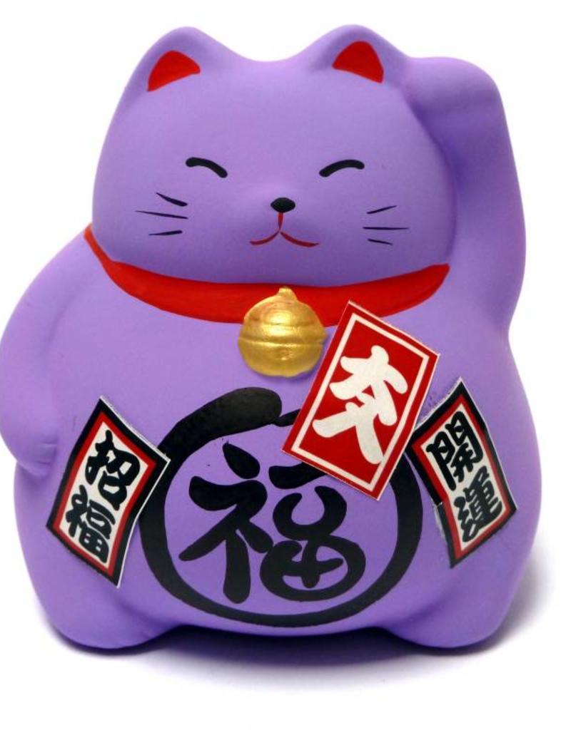 Maneki Neko piggy bank purple