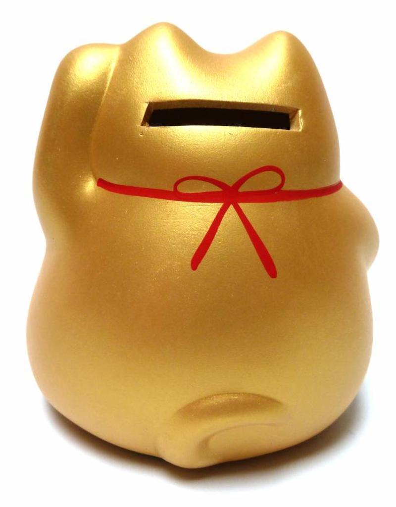Maneki Neko piggy bank gold