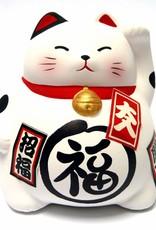 Maneki Neko (gelukskat) spaarpot wit
