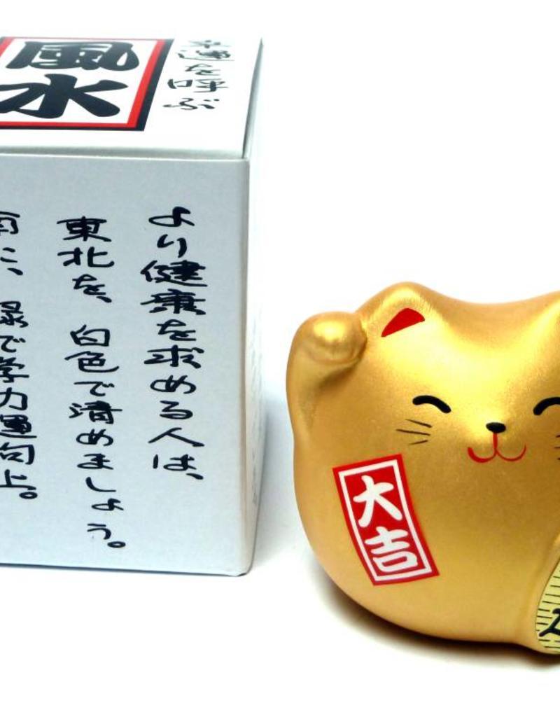 Maneki Neko (gelukskat) goud, klein