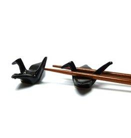 Kraanvogel (zwart) chopsticks onderzetter
