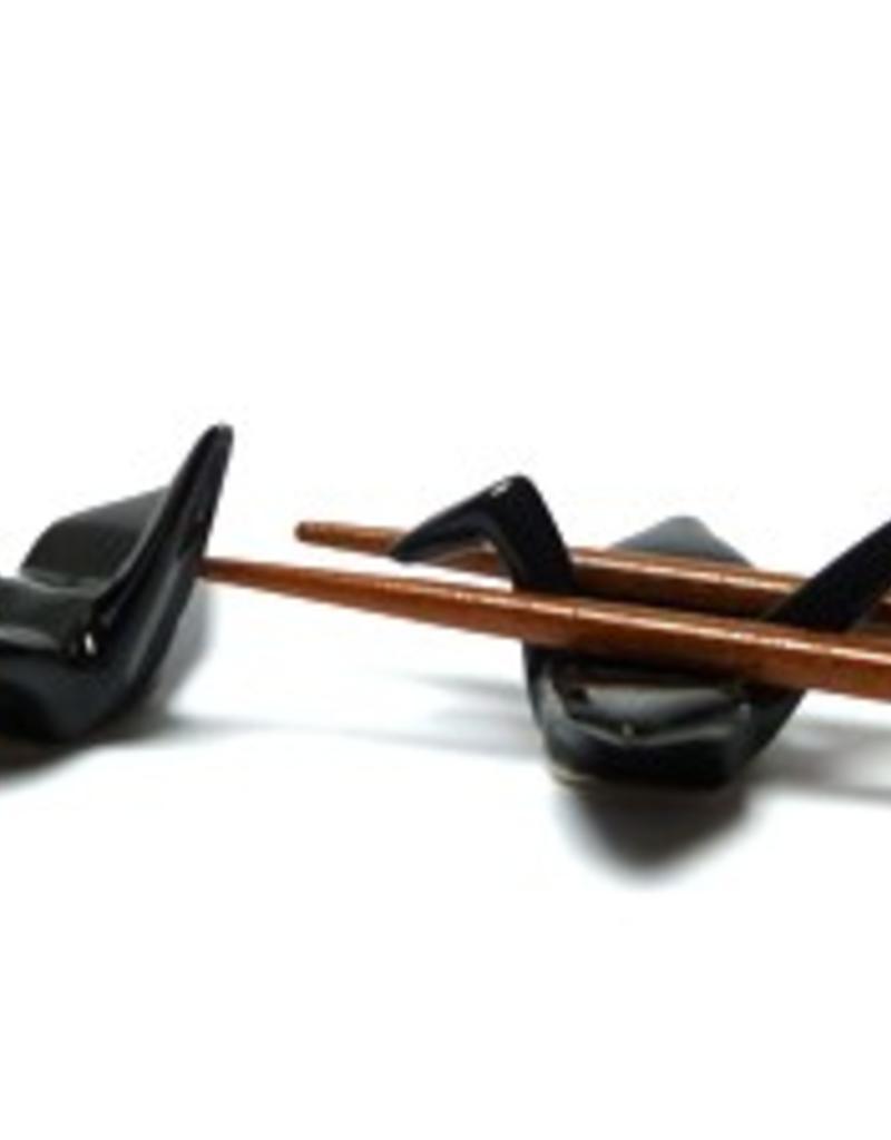 Kraanvogel (zwart) chopsticks onderzetter (2 stuks)