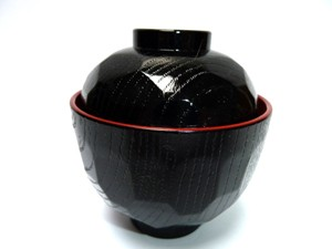 Miso soup bowl small black red