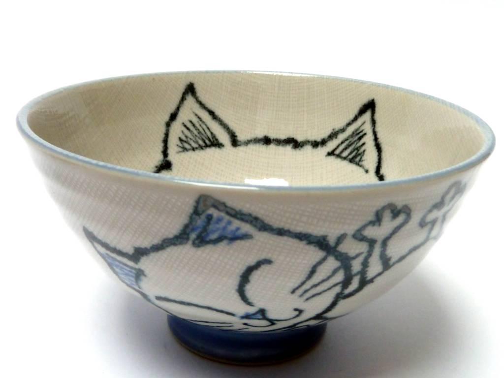 Tokyo Design Studio Soup bowl cat (blue)