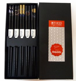 Tokyo Design Studio Japanese black luxury chopsticks in gift box