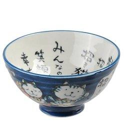 Tokyo Design Studio Blue bowl with kitten