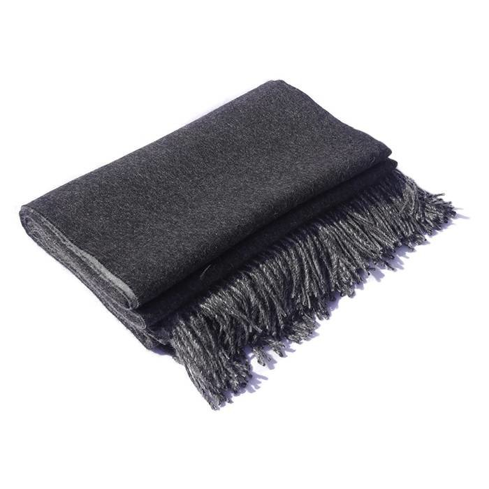 'Double Face' - Alpaca Throw - Dark Grey/Light Grey