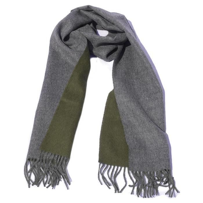 'Double Face' - Alpaca Sjaal - 100% Alpacawol - Mosgroen/Grijs