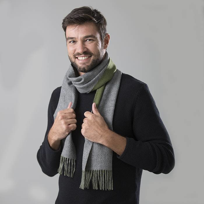 'Double Face' - Scarf - Moss Green/Grey