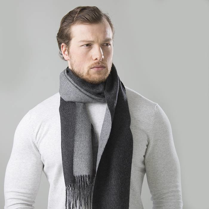 'Double Face' - Scarf - Light Grey/Dark Grey