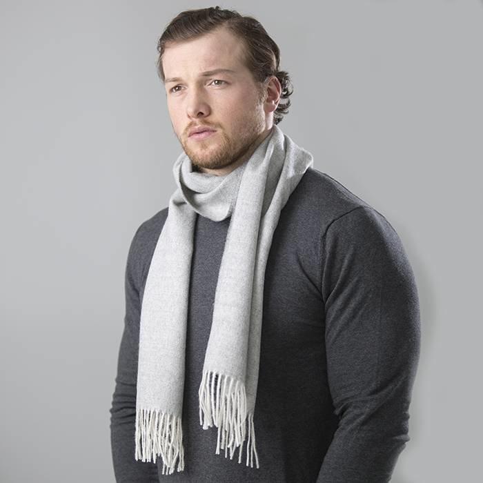 'Fishbone' - Scarf - 100% Baby Alpaca Wool - Light Grey