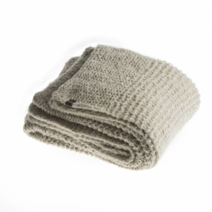 'Chunky Alpaca Knit' - Plaid - Beige