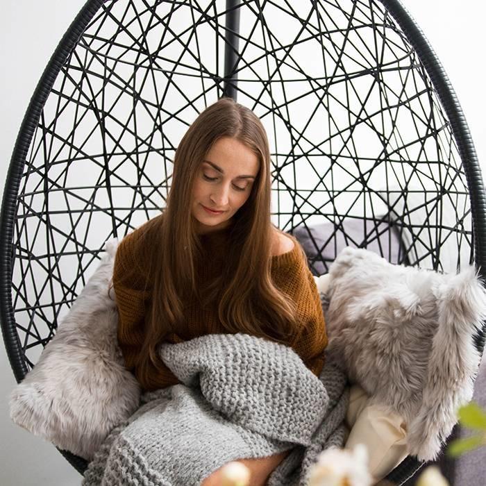 'Chunky Alpaca Knit' - Chunky Plaid - Gemaakt door vrouwen uit de Andes - Lichtgrijs