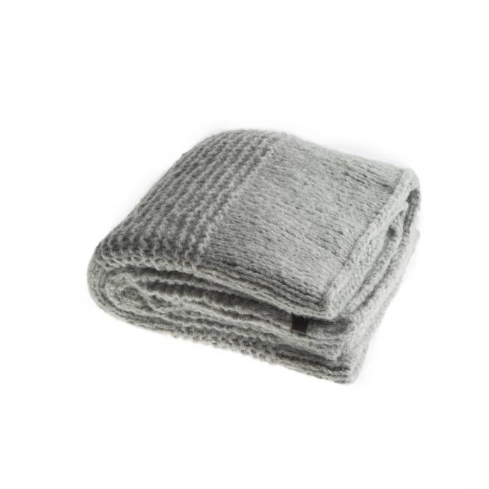 'Chunky Alpaca Plaid' - Hand Knit - Alpaca Wool - Light Grey