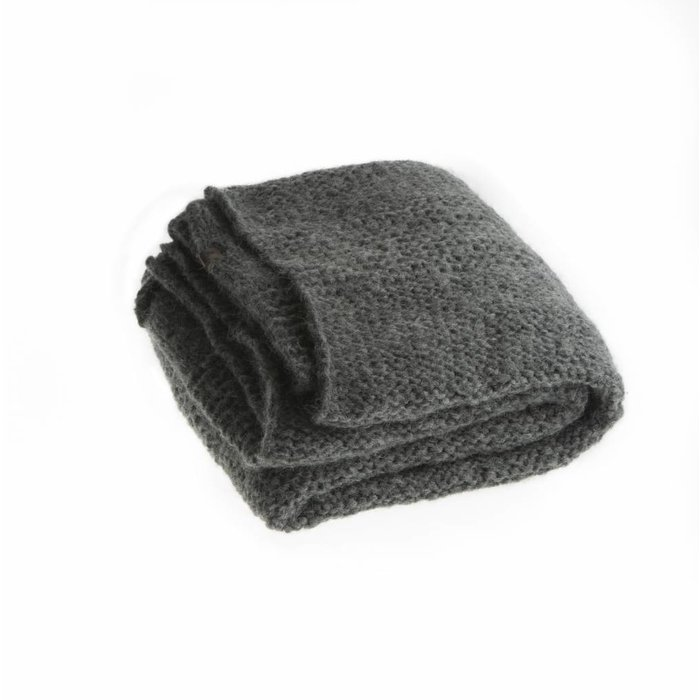 'Chunky Alpaca Plaid' - Hand Knit - Alpaca Wool -Dark Grey