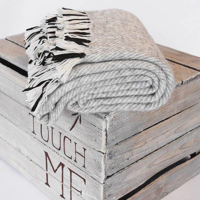 'Leather Stripes' - Light Grey - Alpacawol - Hypoallergeen -  Antraciet/Oker - Copy